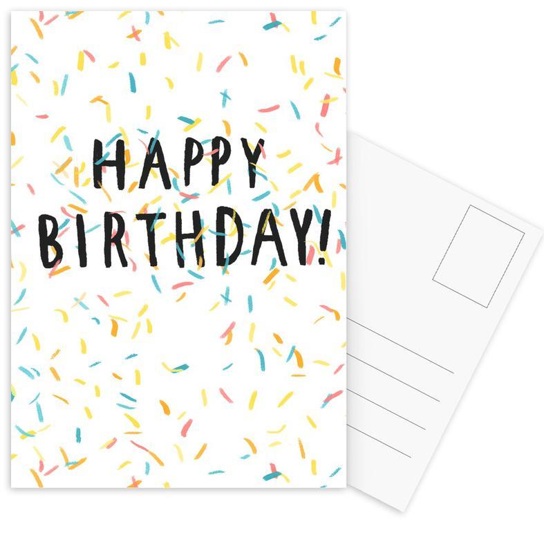 Happy Birthday Confetti -Postkartenset