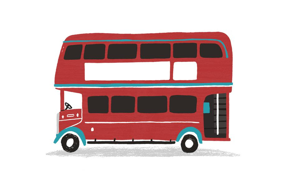London Bus Alu Dibond Druck