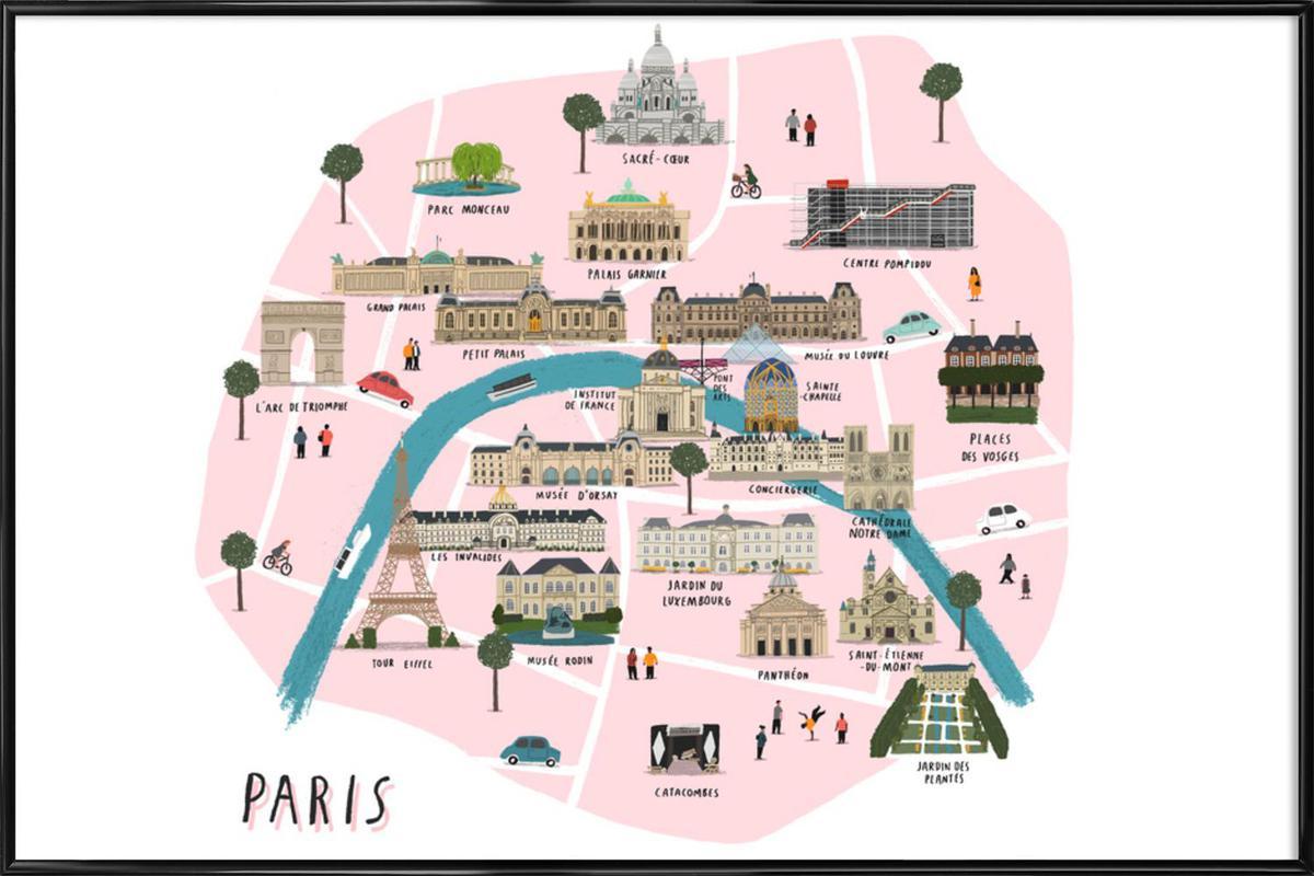 Paris Map Framed Poster