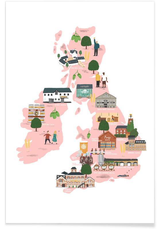 UK & Ireland Beer Map Poster