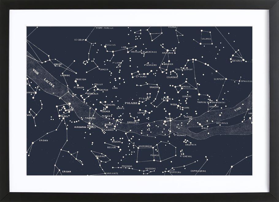 Carte du Ciel I -Bild mit Holzrahmen