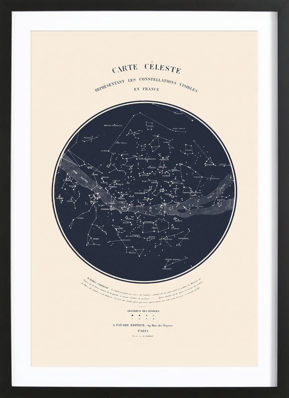 Carte du Ciel -Bild mit Holzrahmen