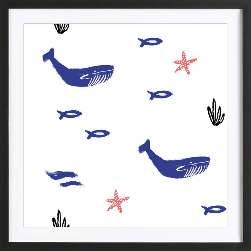 Whale Underwater Framed Print