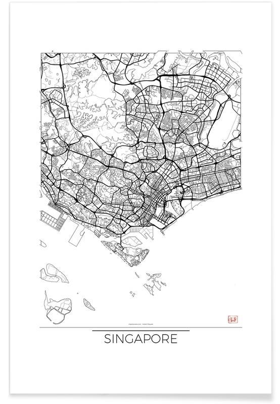 Singapore - minimalistische stadskaart poster