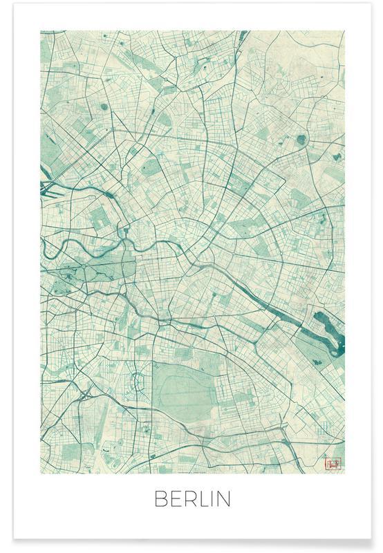Berlijn - vintage stadskaart poster