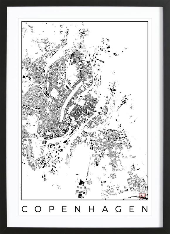Copenhagen Map Schwarzplan -Bild mit Holzrahmen