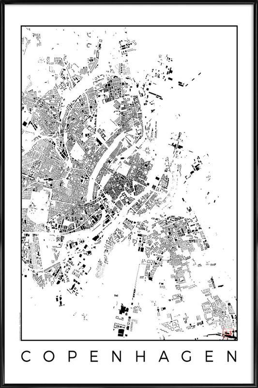 Copenhagen Map Schwarzplan -Bild mit Kunststoffrahmen