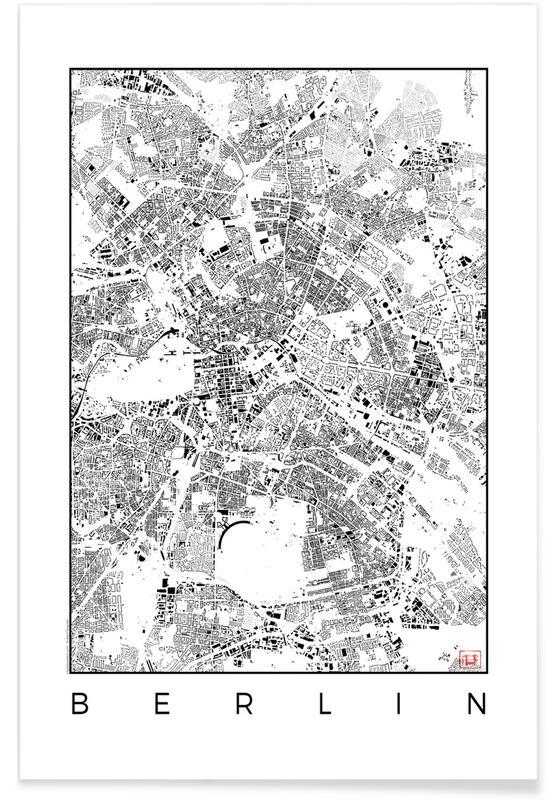 Berlijn - zwarte stadskaart poster
