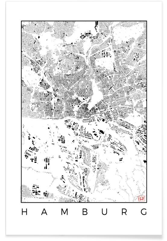 Hamburg Map Black Poster