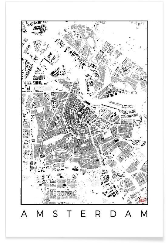 Amsterdam - zwarte stadskaart poster