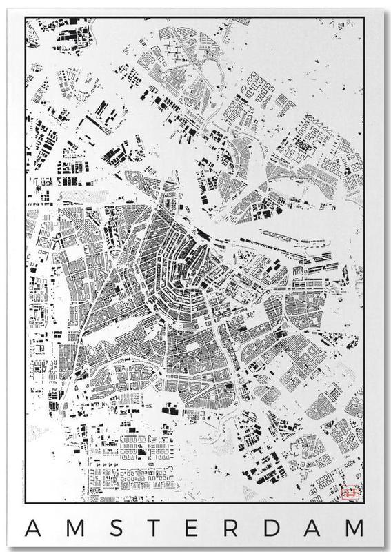 Amsterdam Map Schwarzplan bloc-notes