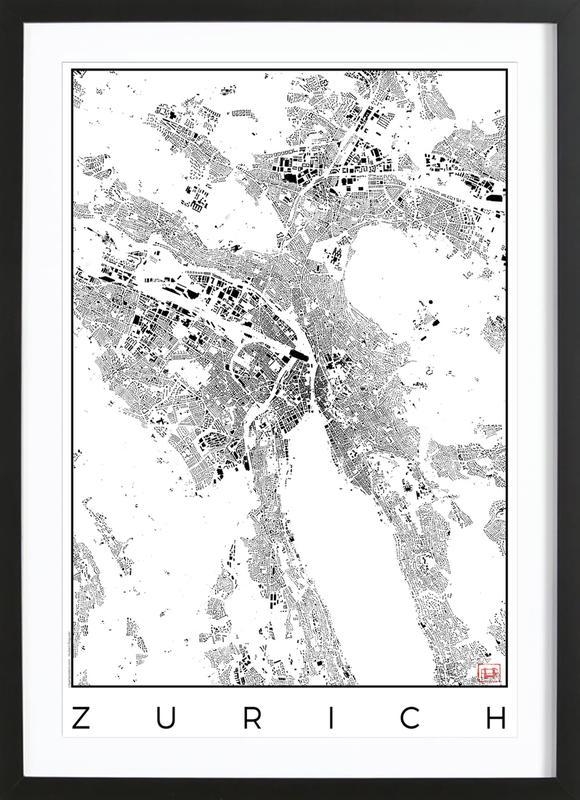Zurich Map Schwarzplan -Bild mit Holzrahmen