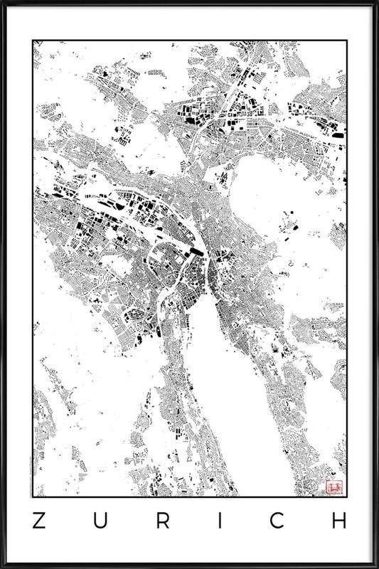 Zurich Map Schwarzplan Framed Poster