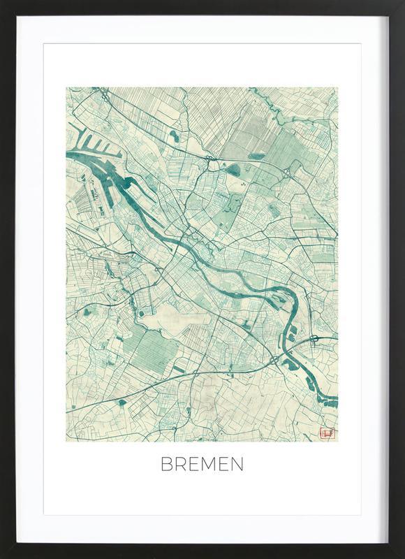 Bremen Vintage -Bild mit Holzrahmen