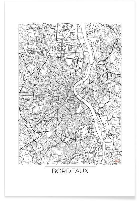 Bordeaux Minimal Map Poster