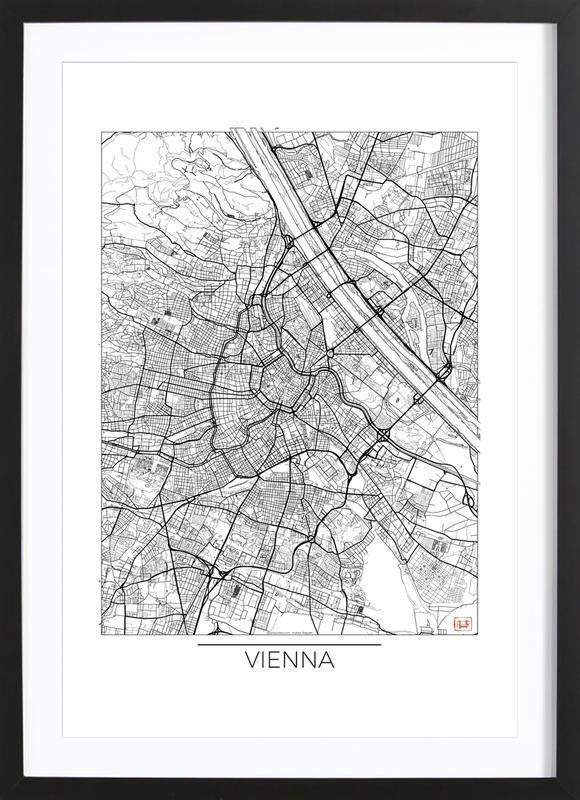 Vienna Minimal -Bild mit Holzrahmen