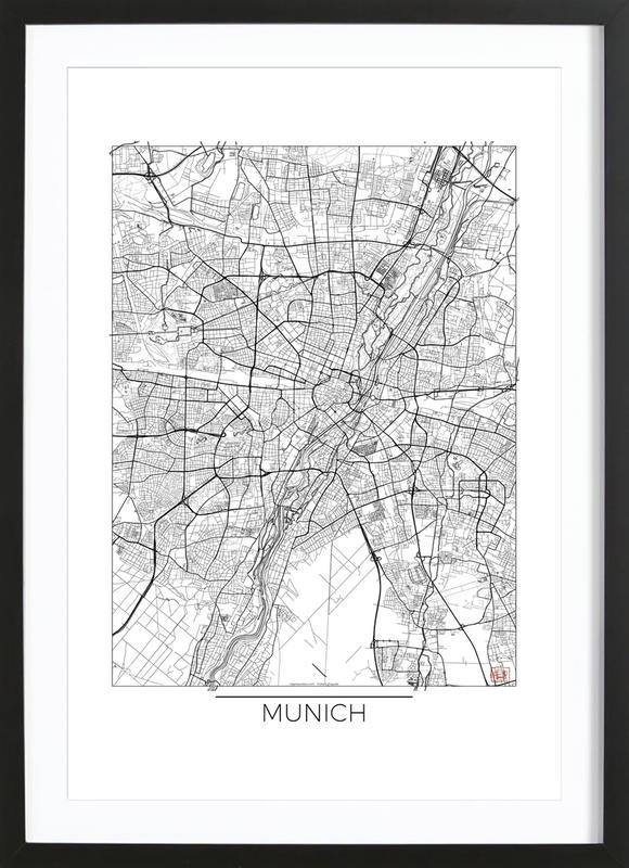 Munich Minimal -Bild mit Holzrahmen