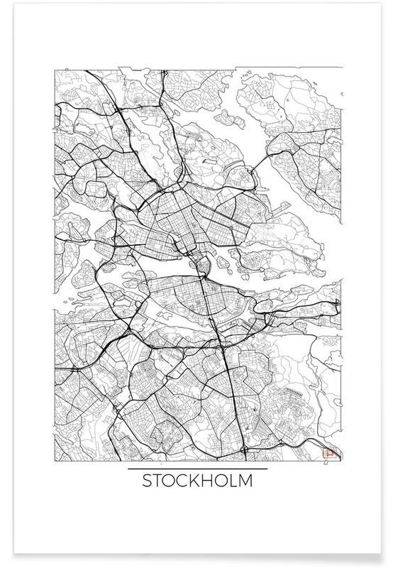 Stockholm Minimal Map Poster
