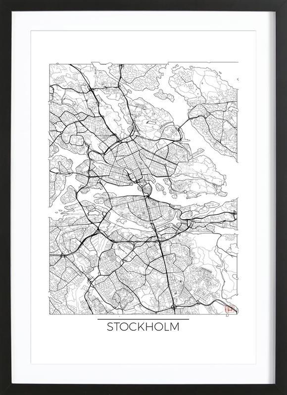 Stockholm Minimal -Bild mit Holzrahmen