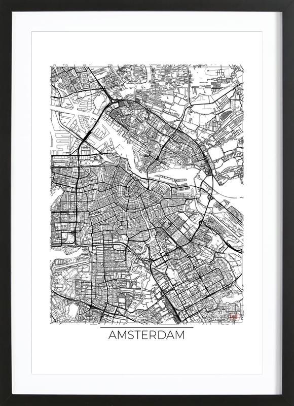 Amsterdam Minimal affiche sous cadre en bois