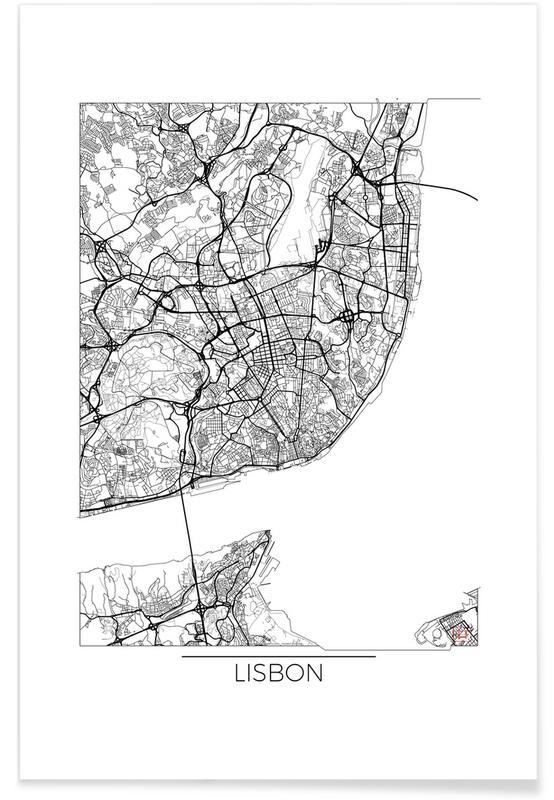 Lisbon Minimal Map Poster