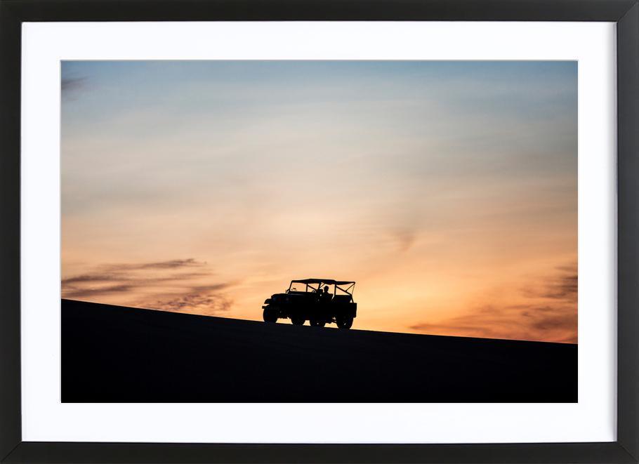 Sunset Sillhouettes -Bild mit Holzrahmen