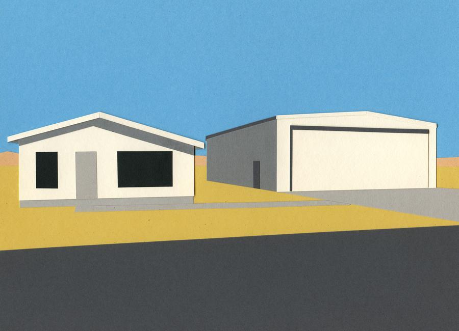 Arizona House with Airplane Garage Leinwandbild