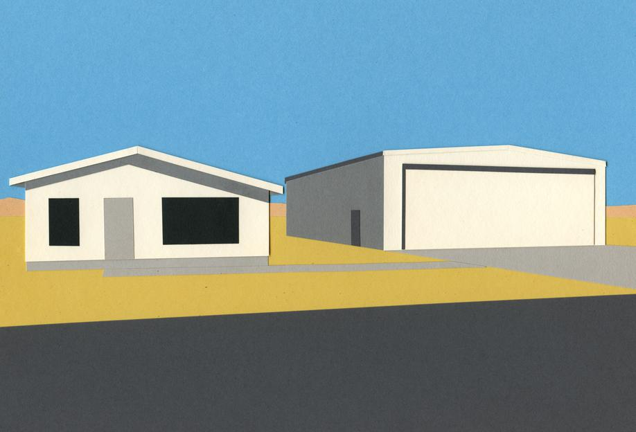 Arizona House with Airplane Garage Alu Dibond D...