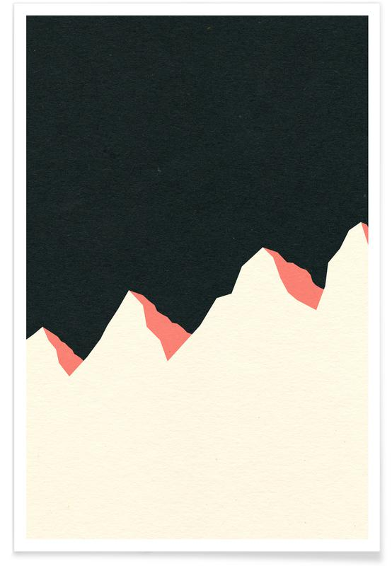 Dark Night White Mountains -Poster