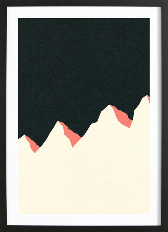 Dark Night White Mountains -Bild mit Holzrahmen