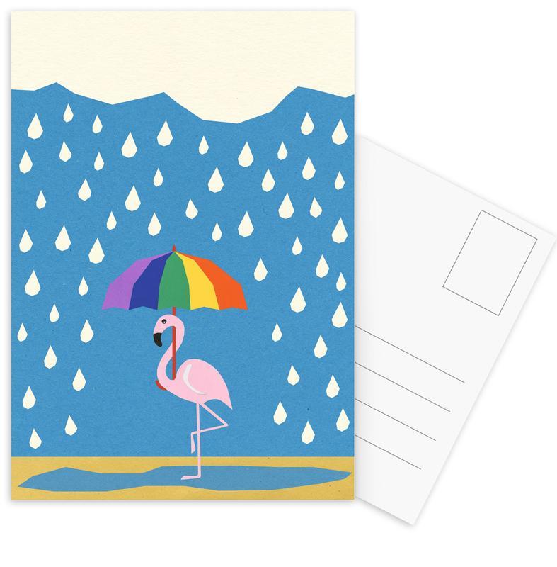 Flamingo de Umbrella Postcard Set