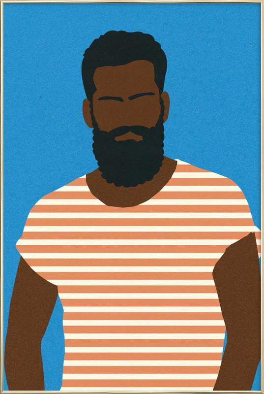 Man with Striped Shirt -Poster im Alurahmen