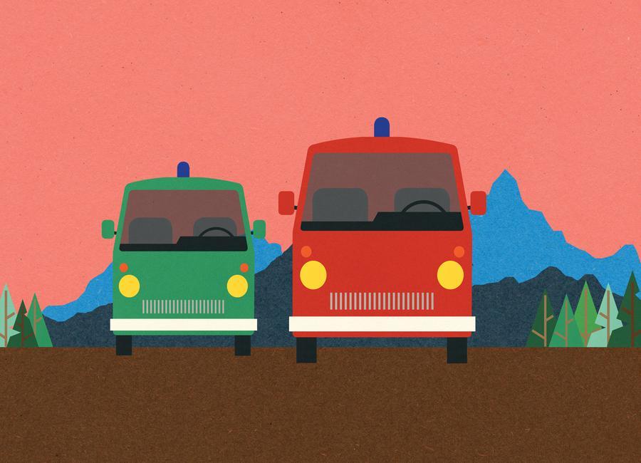 Police Bus and Fire Engine -Leinwandbild