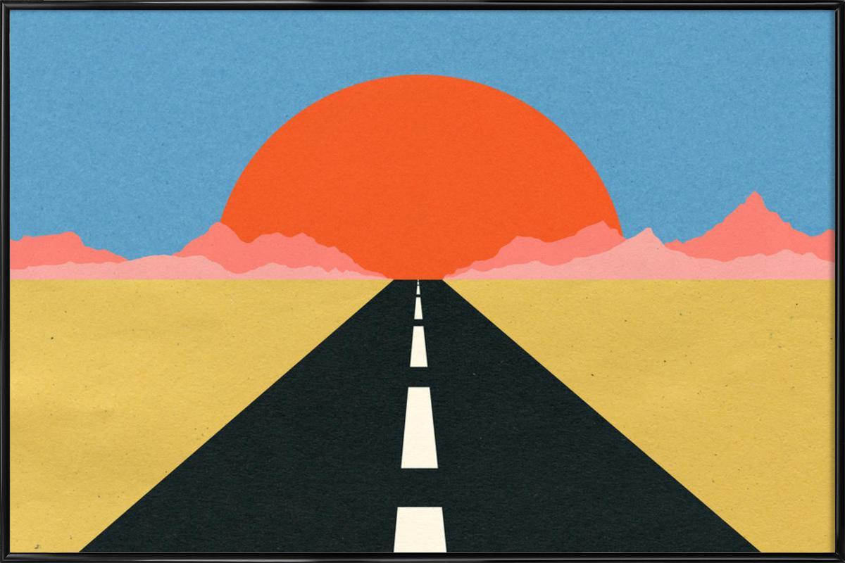 Road to Sun -Bild mit Kunststoffrahmen
