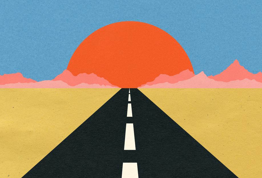 Road to Sun -Acrylglasbild