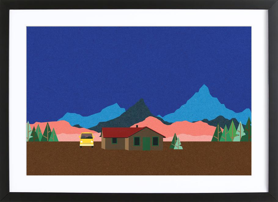Sierra Nevada Mountain Hut -Bild mit Holzrahmen