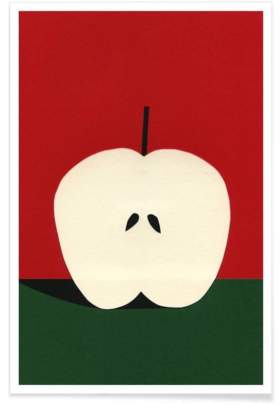 Half Red Apple Premium Poster