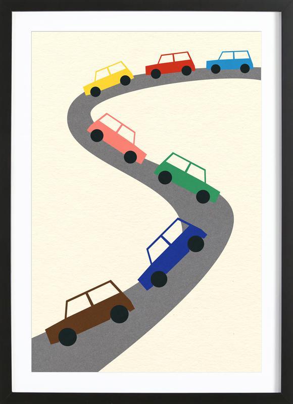 Traffic -Bild mit Holzrahmen