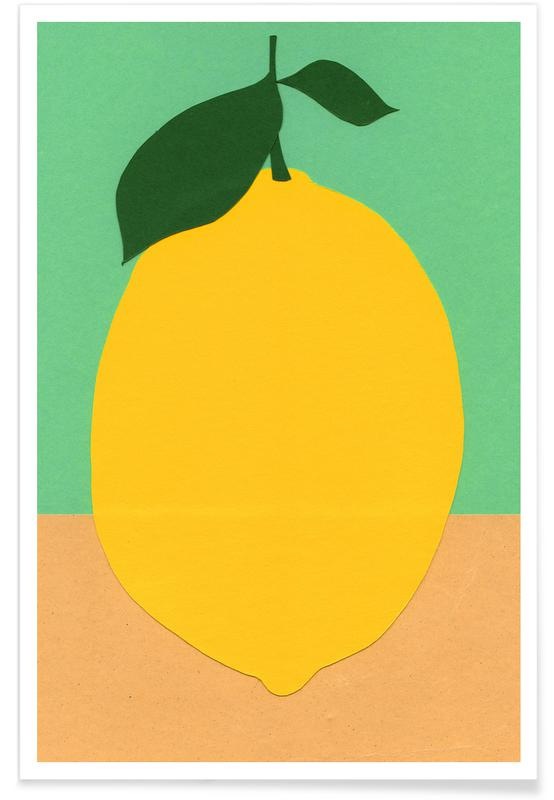 Lemon with Two Leaves poster