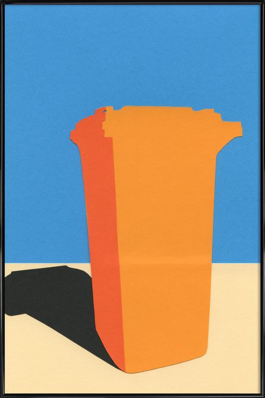 Orange Garbage Bin Framed Poster