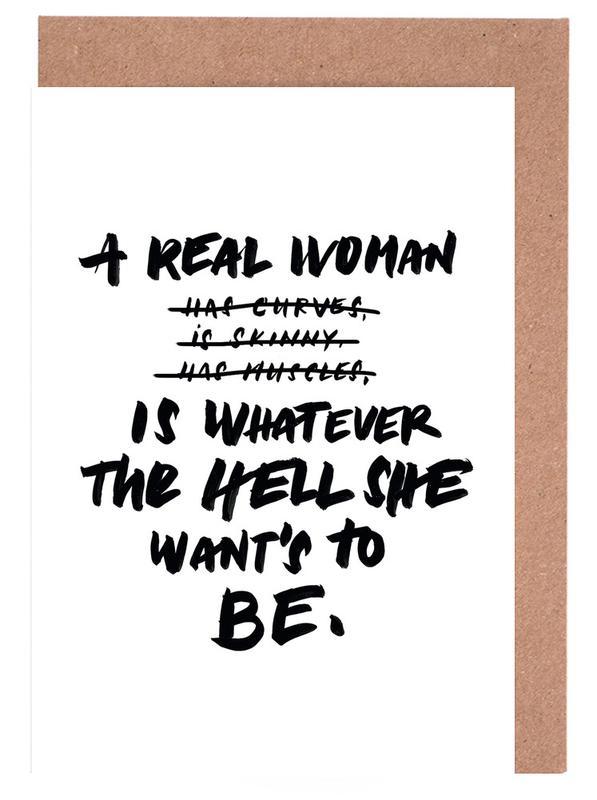 A Real Woman Black Grußkartenset