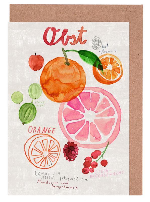 Obst -Grußkarten-Set