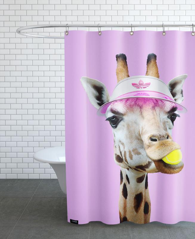 Tennis Giraffe Shower Curtain