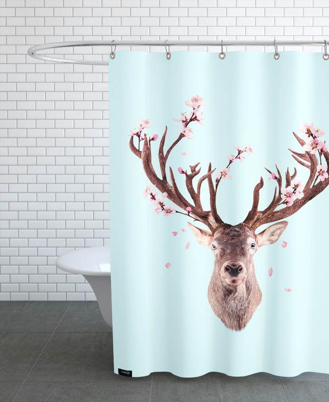 Cherry Blossom Deer -Duschvorhang
