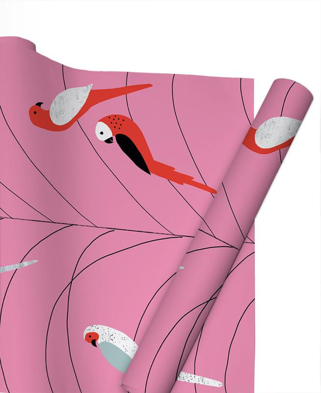 Tropicana - Birds on Branch Pink papier cadeau