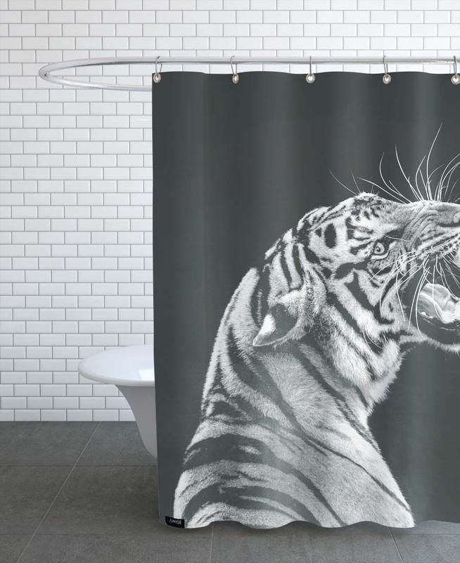 Grey Tiger Shower Curtain