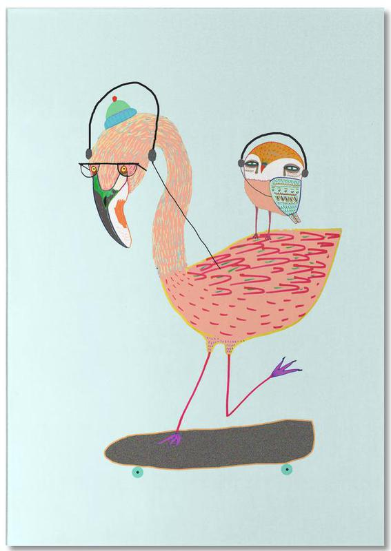 Flamingo and Owl Headphones Notepad