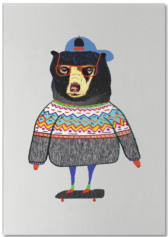 Bear on Skateboard -Notizblock