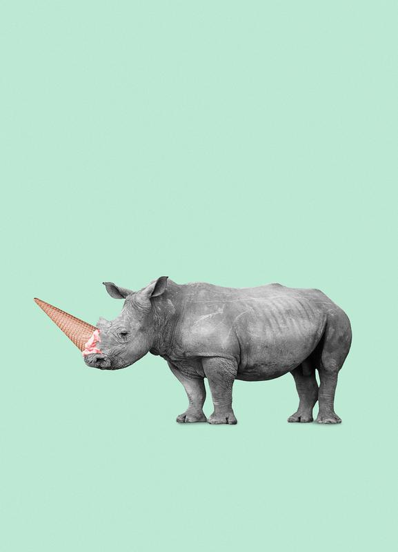 Ice Cream Rhino Canvas Print