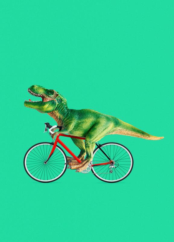 T-Rex Bike -Leinwandbild